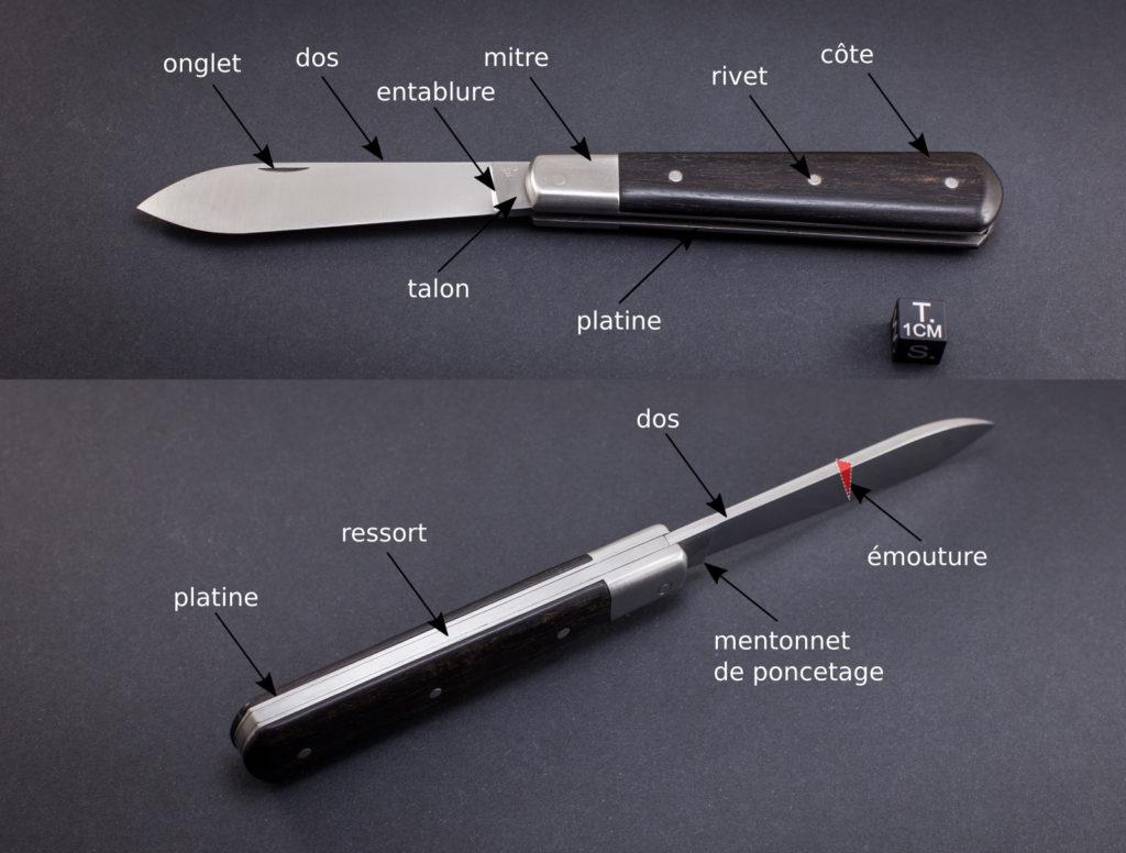 nomenclature d'un couteau pliant