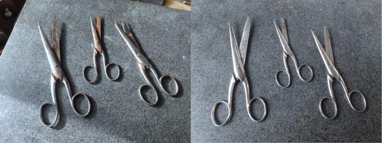 restauration de ciseaux de couture