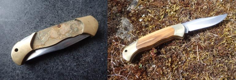 restauration de manche couteau pliant